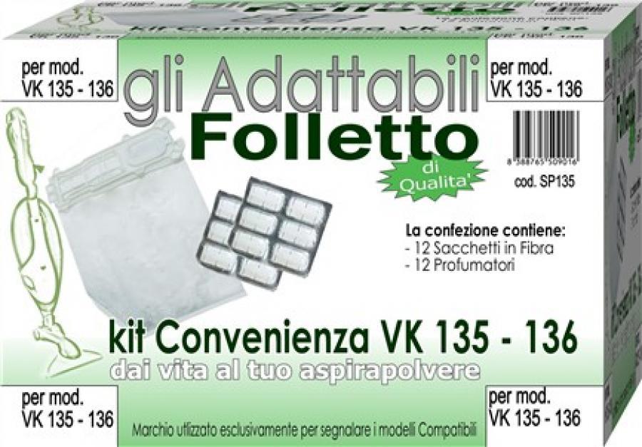 Kit folletto vk 135 136 contenente 12 sacchetti fibra - Folletto kobold 135 prezzo ...